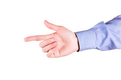 Male hand with pointing finger showing something Royalty Free Stock Photo