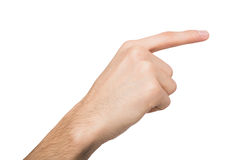 Male hand pointing on object with index finger isolated on white Royalty Free Stock Images