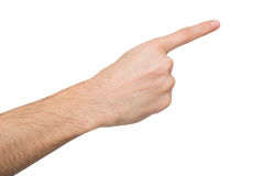 Male hand pointing on object with index finger isolated on white. Male hand pointing on virtual object with index finger isolated on white background, close-up royalty free stock image