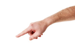Male Hand Pointing to Something stock photos