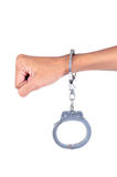 Male hand in police handcuffs Royalty Free Stock Photography