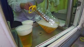 Male hand pouring of rubber tubing fresh beer in plastic cups and a bottle. Close view stock video
