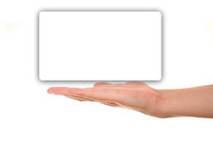Male hand presenting empty blank. Male hand presenting empty white blank Royalty Free Stock Photography