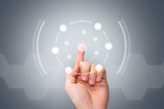 Male Hand Pressing Modern Button on Digital Screen Stock Photography
