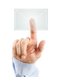 Male hand pressing virtual mail icon Stock Images
