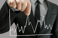 Male hand pulling line chart upwards Royalty Free Stock Images