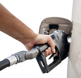 Male hand pumping gas Royalty Free Stock Images