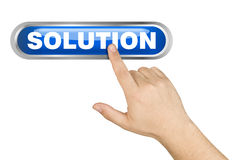 Male Hand Pushing Big Solution Button Royalty Free Stock Image