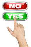 Male Hand Pushing Big Yes Button Royalty Free Stock Photo