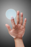 Male hand pushing on touch screen interface Royalty Free Stock Photography