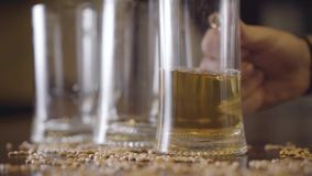 Male hand puts a half-empty beer glass on the table close-up. Peanuts are scattered on the table. Advertising concept. Male hand puts a half-empty beer glass on stock video footage