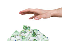 Male Hand Reaching Euro Banknotes Royalty Free Stock Image