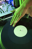 Male hand on record. royalty free stock images