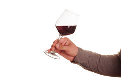 Male hand with red wine glass Stock Photos