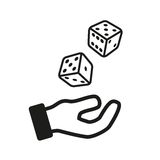 Male hand rolling dice isolated on white. Background. Vector illustration Stock Photo