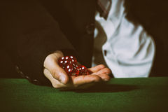 Male hand rolling five dice. On green felt Stock Image