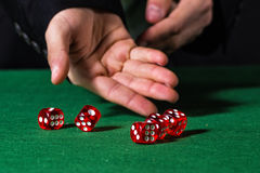 Male hand rolling five dice. On green felt Royalty Free Stock Image