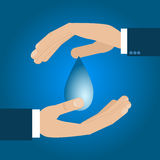Male hand save water drop. Vector illustration Royalty Free Stock Image
