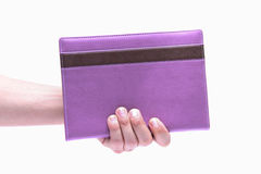 Male hand send  note book Royalty Free Stock Images