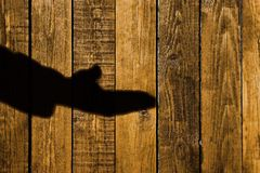 Male Hand Shadow on a wooden background, XXXL Stock Photos