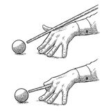 Male hand in a shirt is aimed cue the ball. Male hand in a shirt is aimed cue at the ball. Vintage black engraving illustration for poster, banner billiard club Stock Photo
