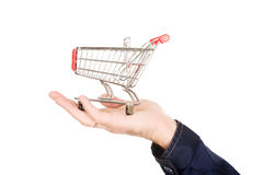Male hand with shopping basket Royalty Free Stock Image