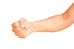 Male hand showing clutched in his fist isolated Stock Photo