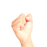 Male hand showing clutched in his fist isolated. On white background Stock Photo