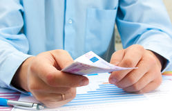 Male hand showing credit card. Doing business Stock Photos