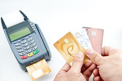 Male hand showing credit cards Stock Images