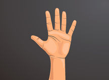 Male hand is showing five fingers. Symbol that means five or stop concept with hand up on gray background. High five sign in male hand Royalty Free Stock Image