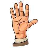 Male hand showing five fingers. Vector color flat illustration. Isolated on a white background. Hand sign for web, poster, info graphic Royalty Free Stock Photo