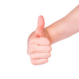 Male hand showing his thumb up. Positivity concept. Male hand showing his thumb up isolated on white. Positivity concept Royalty Free Stock Photos