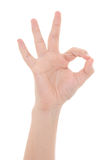 Male hand showing okay sign isolated on white Royalty Free Stock Images