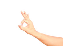 Male hand showing sign OK or agree isolated Stock Photography