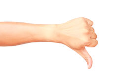 Male hand showing thumb down isolated Stock Images