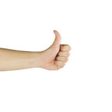 Male hand showing thumbs up sign against isolated white backgrou Royalty Free Stock Image