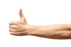 Male hand showing thumbs up sign Stock Photo