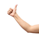 Male hand showing thumbs up sign Stock Photos
