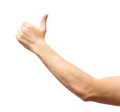 Male hand showing thumbs up sign Stock Images