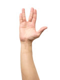 Male hand showing Vulcan Salute isolated Royalty Free Stock Photo