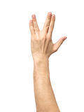 Male hand showing Vulcan Salute isolated Stock Image
