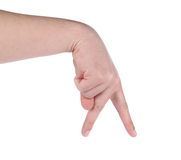 Male hand showing the walking fingers. Stock Image