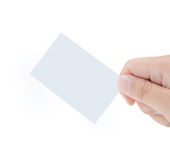 Male hand showing white blank card Stock Photo