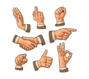 Male hand sign. Fist, Like, handshake, Ok, Pointing finger. Male hand sign. Fist, Like, handshake, Ok, Pointing, Stop, finger at viewer from front. Vector Stock Photography