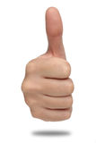Male hand sign with thumb up. Isolated Stock Photography