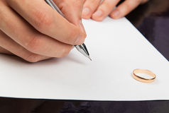 Male hand signing divorce papers Stock Image