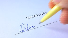 Male Hand Signing Signature stock video footage