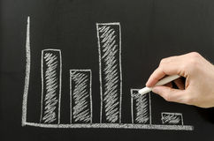 Male hand sketching business graph Stock Image