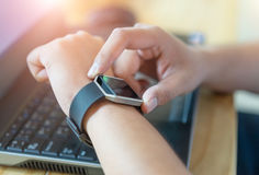 Male hand with smart watch on wrist. Male hand with smart watch on wrist Royalty Free Stock Photography